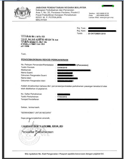 Marital Status letter JPN